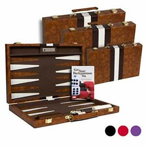 "Top Backgammon Set - 11"" Travel Size Classic Board Game Case - Small Brown"
