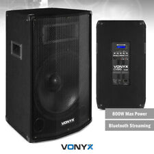 """Pair of 15"""" Active Powered PA Speakers with Bluetooth USB MP3 DJ Stage 1600w"""