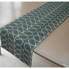 """NEW Dining Table Runner 7ft Orla Kiely Linear Stem Cool Grey and Cream 84"""" 210cm"""