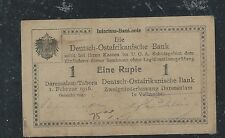 GERMAN EAST AFRICA (3009B) DOA BANK 1 RUPEE PATER MONEY