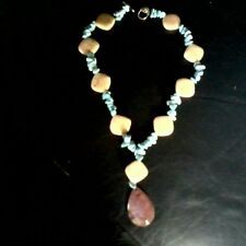 Handcrafted Howlite,Feldspar, and Druzy Agate Pendant Necklace