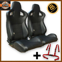 Pair Black BB6 Reclining Titling Bucket Sports Seats + 4 Point Racing Harnesses