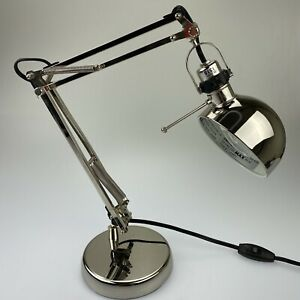 Ikea Table Desk Lamp Work Reading Articulating Adjustable Shiny Chrome Silver