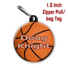 Basketball Zipper Pull/Bag Tags Two Personalized Charms with Name and color