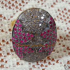 Diamond Ruby Studded Silver Ring Jewelry Victorian Inspired 3.08ct Pave Rose Cut