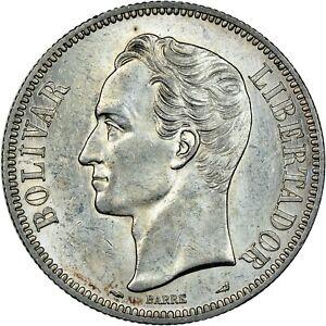 VENEZUELA 5 BOLIVARES SILVER COIN .900 FINE