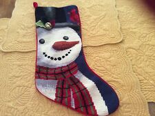 Christmas Needle Point Stocking Snowman With Holly Leaves And Small Bell