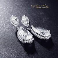 Ohrhänger Luxus Ohrringe Zirkonia AAA Swarovski-Kristalle STELLUX™ Weissgold 18K