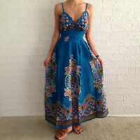 Women Sleeveless Boho Blue Crossover Summer Maxi Casual Dress Size 8,10,12,14,16