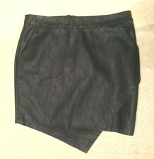 "VILA Matt Black Faux Vegan LEATHER PU 16"" Mini SKIRT Size S Waist w29ins w74cms"