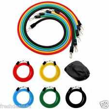 NEW EXERCISE RESISTANCE BANDS CABLE SET FOR YOGA ABS FITNESS PILATES WORKOUT GYM