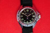 Vintage VOSTOK Zakaz MO USSR Komandirskie military wrist watch,Black dial 2414a