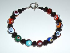 Black, Multicolored Murano Millefiori Glass and Nugget Bracelet