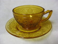 """4 Amber Daisy Cups & Saucers 2 3/8"""" 40 50 60's Glass Indiana"""