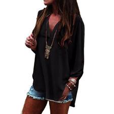 Damen Freizeit Übergröße einfach Chiffon langärmliges Oberteil Hemd Bluse