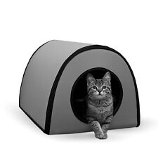 "NEW Cat House Heated Outdoor Kitty Bed Pet Warm Shelter Electric 21""x13""x15"" Gry"