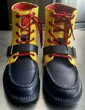 POLO RALPH LAUREN RANGER HI II CHUKKA  BOOT LEATHER BLUE/GOLD/RED KIDS SIZE 3.5Y