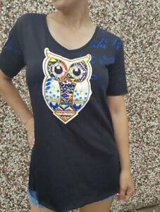 Womens Black Beaded Owl Size Medium Short Sleeve T-Shirt Top