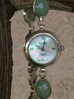 "Vintage Sanuk Sterling Silver Jade Cabochon Bracelet Watch 7"" Wrist New Battery"