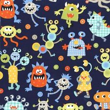 Michael Miller Monster Mash Fabric in Navy. Fun,Boy's Fabric. By the Fat Quarter
