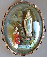 French LARGE Carved Meerschaum Lourdes Bernadette Reliquary Pendant Medallion