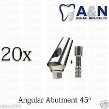 20 Angular Titanium Abutment 45' hex Dental Implant Lab Prosthetics, Free Ship