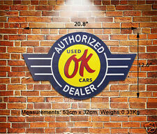 OK Authorized Used Car Dealer Embossed Metal Sign Wall Decor Auto Garage Advert