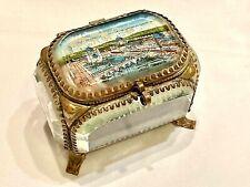 More details for rare antique 1908 franco british exhibition gilt metal & glass jewellery box