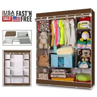 "69""  Portable Heavy Duty Clothes Closet Wardrobe Clothes Large Storage Organizer"