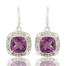 Natural Amethyst Gemstone 925 Silver Solitaire Dangle Earrings Jewelry
