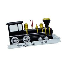 NAME PERSONALIZED Black Train Christmas Ornament Customized Holiday Gift