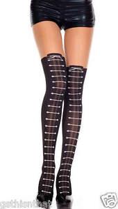 Pantyhose Faux Lace Up Boots Music Legs Women's Beige/Black New Hosiery Fashion