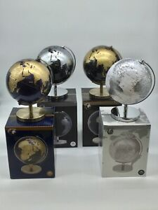 World Globe Metal Base Modern Look Display Desk Top Silver Blue Gold New Boxed