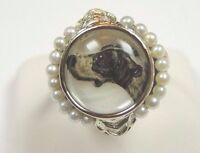 Antique Victorian Essex Crystal Filigree Ring 14K Gold Ring Size 8.5 UK-Q1/2 GSP