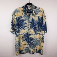 Campia Moda 100% Rayon Blue Yellow Hawaiian Aloha Camp Beach Shirt Men's Sz M