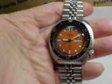 MANS SEIKO DIVERS WTCH 6309-7040 TURTLE BACK 17J AUTOMATIC WITH ORANGE DIAL