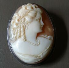 vintage SILVER fine carved pink shell cameo lady pendant or brooch -N134