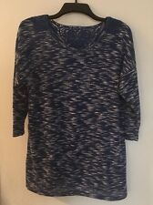 B.L.U.E. Embellished Top Blue/White Size Large 3/4 Sleeve Beautiful NWT$38