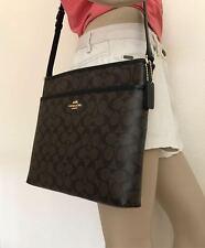 NWT Coach Signature Brown Black Crossbody PVC File Bag Purse F58297