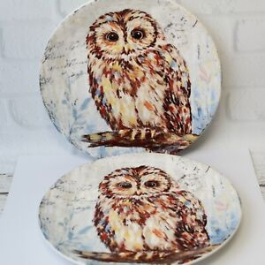 "2 Pier One 1 Imports Regal Owl Ironstone Salad Dessert Plate Dimpled Decor 9"""