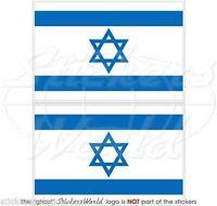 "ISRAEL Israeli Flag Jewish Hebrew Vinyl Bumper Decals, Stickers 3"" (75mm) x2"