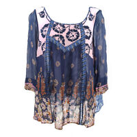 Anthropologie Floreat Top Blouse Women's Small Embroidered 3/4 Sleeve Floral