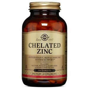 Solgar Chelated Zinc 250 Tablets FRESH Made In USA, FREE US SHIPPING