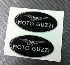 2 Adesivi MOTO GUZZI BLACK & SILVER 6 cm 3D resinati