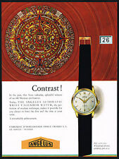 1950s Vintage 1956 Angelus Automatic Calendar Swiss Watch Aztec Art Print Ad