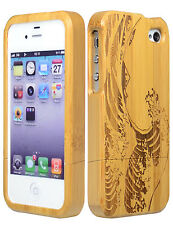 Real Wood Bamboo Hard Case / Wave Design Cover for iPhone 4, 4S
