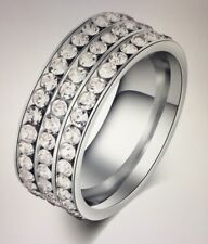 Eternity Stainless Steel Ring Silver Color 3 Row small CZ Women's Size 6