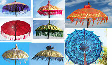 "34"" diameter colorful fringed fabric PARASOL, hand-made wood Balinese temple new"