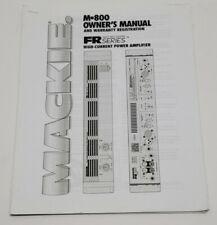 Owners Manual Mackie M-800 Power Amplifier Amp Printout Copy Paper Booklet