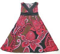 Cato Women's Size Medium Dress Sleeveless Paisley Print Stretch Attached Belt